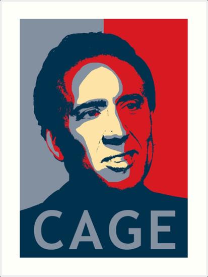 nicolas cage pop art obama style poster meme art prints by