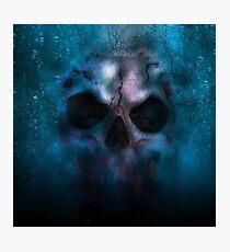 Halloween: Lighted skull, on black background. Photographic Print