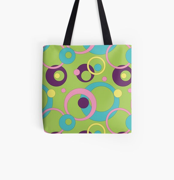 Funky Green Circles All Over Print Tote Bag