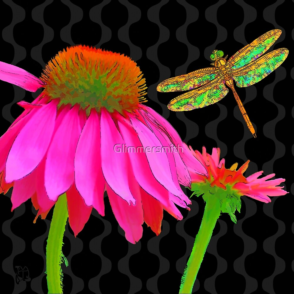 Flower Pop, floral Pop Art Echinacea, dragonfly by Glimmersmith