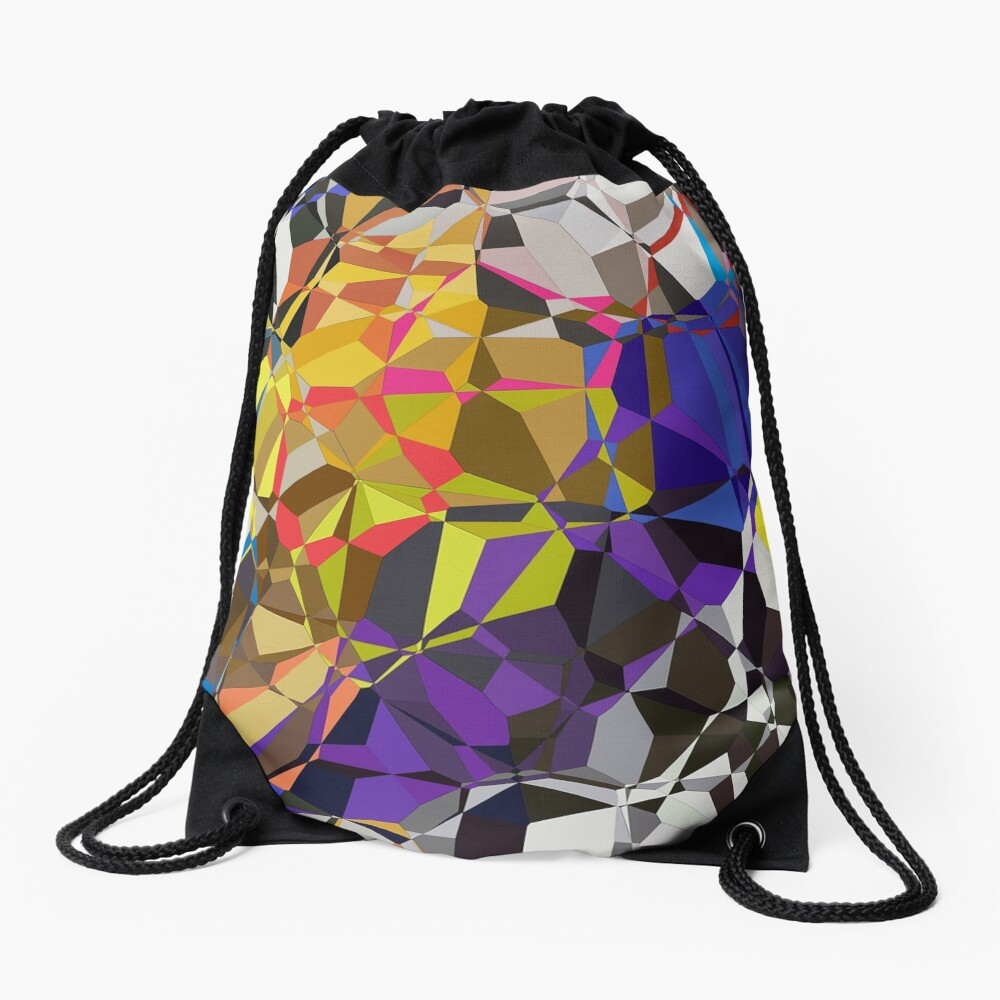 Colorful Geometric Pattern Drawstring Bag