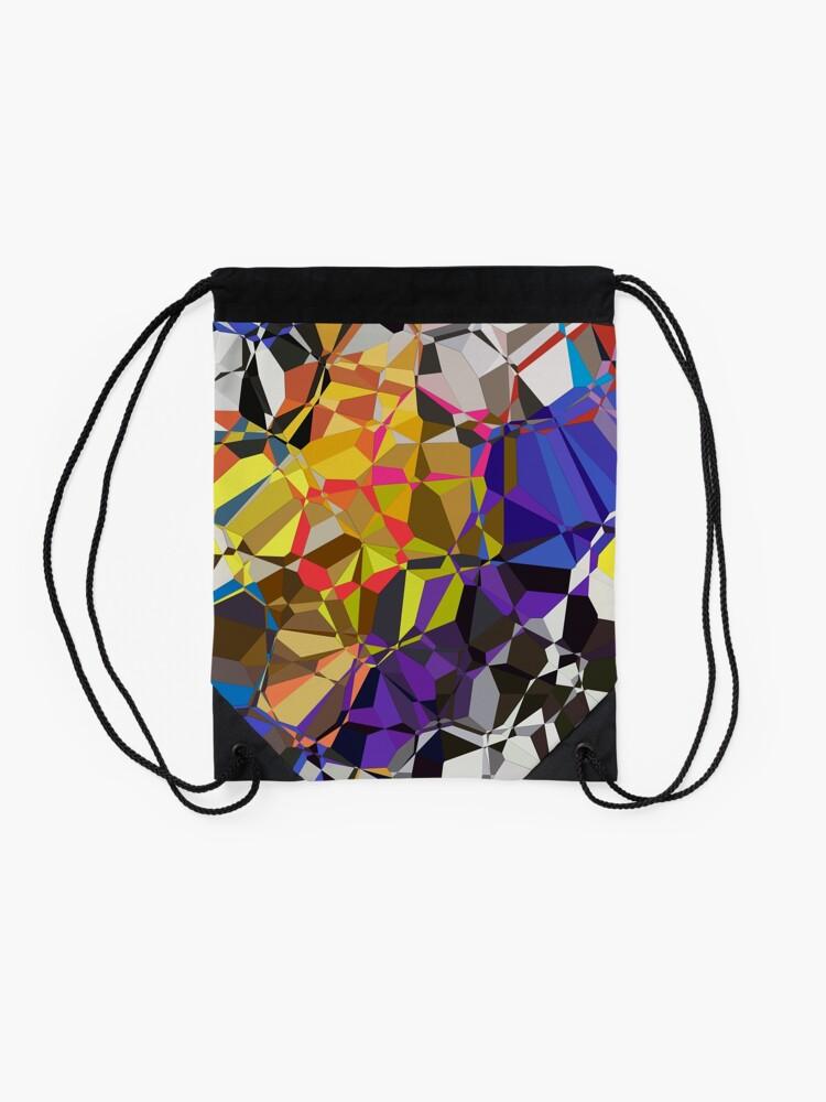 Alternate view of Colorful Geometric Pattern Drawstring Bag