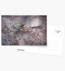 Soaring Fairy and Owl in Flight Illustration Fantasy Art by Molly Harrison Postcards