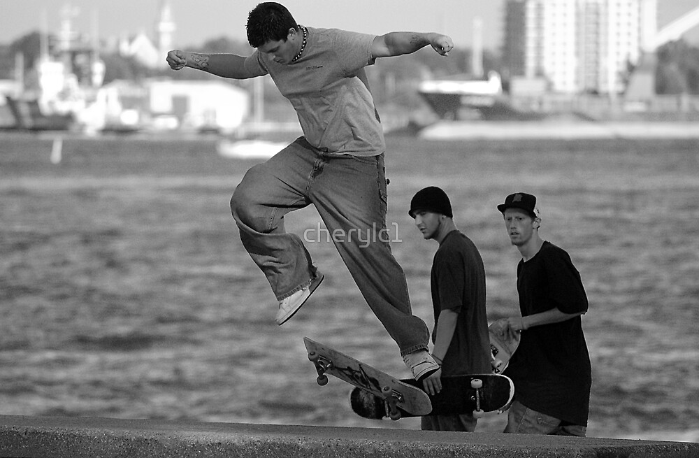 Skateboarding on the river by cherylc1