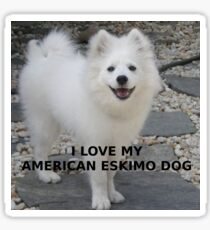 american eskimo dog love with picture Sticker