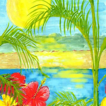 TROPICAL BEACH AND HIBISCUS FLOWERS by Annie18c