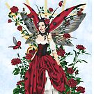 Ladybug Fairy Red Rose Garden by Alison Spokes