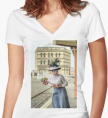 Oamaru Living its History 2 Women's Fitted V-Neck T-Shirt
