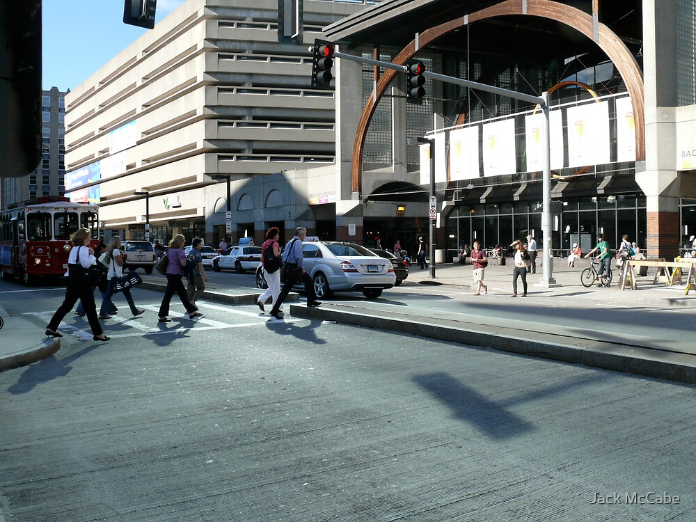 Crossing the Street at Copley Place - Back Bay - Boston by Jack McCabe