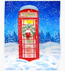 British Red Telephone Box In Falling Christmas Snow Poster