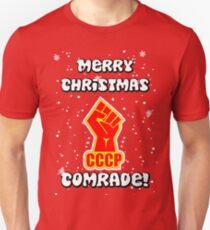 Sowjetische kommunistische Karte der frohen Weihnachten Slim Fit T-Shirt