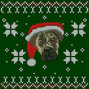 Bullmastiff Christmas Sweater Print by afletcher