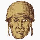 WW2 American Soldier Head Drawing by patrimonio