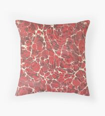 Red and brown marbling with white cracks Throw Pillow