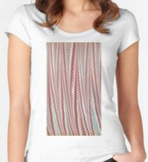 Light, grey and green and pink vertical marbled design Women's Fitted Scoop T-Shirt