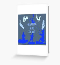 Wake Up Seas The Day Kiteboarder Royal Blue Greeting Card