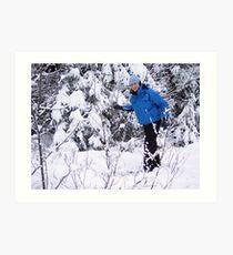 Snowshoeing in Winter Art Print