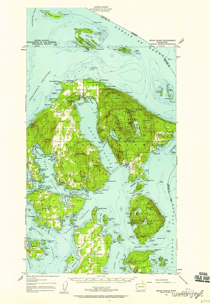 USGS Topo Map Washington State WA Orcas Island 242974 1957 62500 by wetdryvac