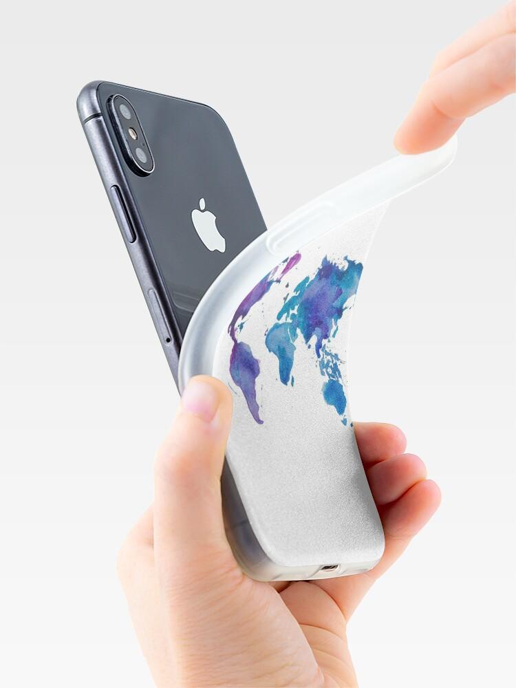 Alternative Ansicht von Aquarell Karte der Welt iPhone-Hülle & Cover