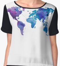 Watercolor Map of the World Women's Chiffon Top