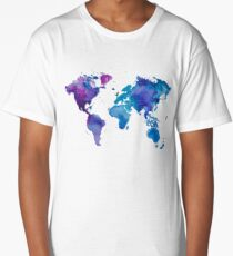 Watercolor Map of the World Long T-Shirt