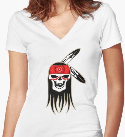 Skull Spirit  Women's Fitted V-Neck T-Shirt
