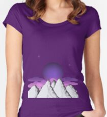 Mountain landscape with an evening sky Women's Fitted Scoop T-Shirt