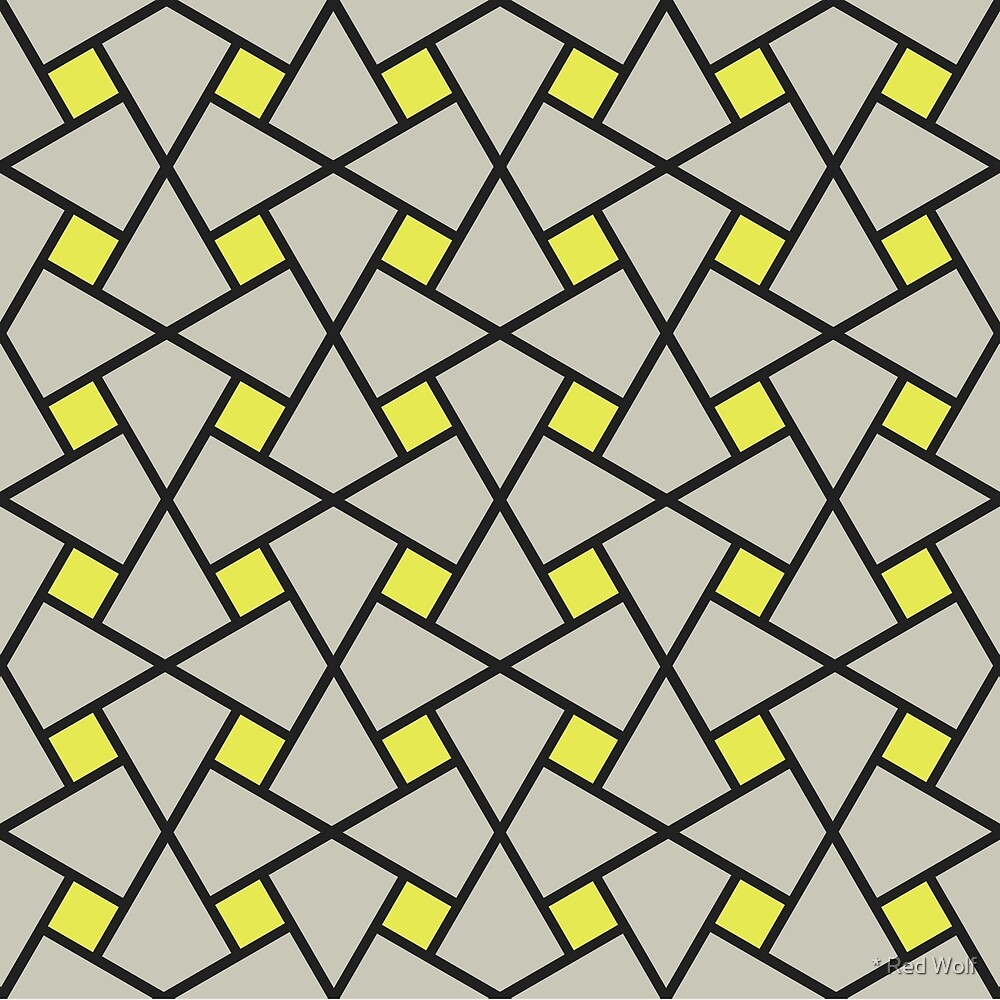 Geometric Pattern: Square Twist: Grey by * Red Wolf