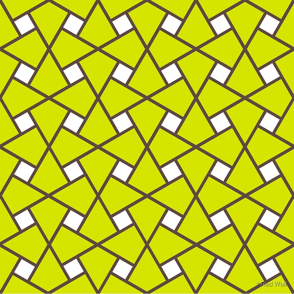 Geometric Pattern: Square Twist: Green by * Red Wolf