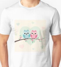 Cute owls on a branch - for kids T-Shirt