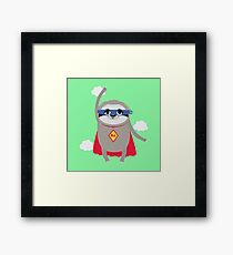 Super Sloth hero in cape nature-Design Framed Print