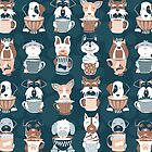 Doggie Coffee and Tea Time 2 // 2019 Calendar // navy blue background by SelmaCardoso