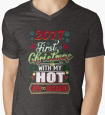 First Christmas With Hot New Husband 2017 Couple T-Shirt