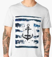 Hand paint watercolor sea pattern. Nature theme. Blue rough stripes made by the brush. Anchor.  Men's Premium T-Shirt