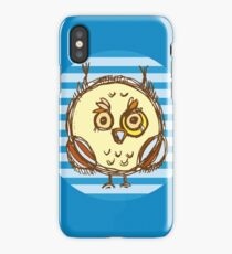 Funny owl blue and brown iPhone Case/Skin