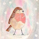 Robin in a Snow Storm Acrylic Painting Print by Niki Jackson