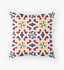 Oriental Pattern - Geometric Design, red, yellow, grey Throw Pillow