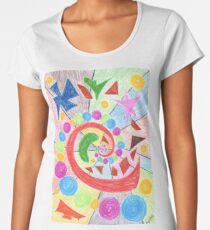 2408 - Colorful Spiral with Spheres and Forms Women's Premium T-Shirt