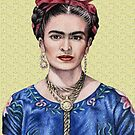 Portrait Frida Kahlo golden yellow - yellow by Nicole Zeug
