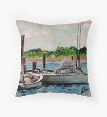 Behind the Fish Market Throw Pillow