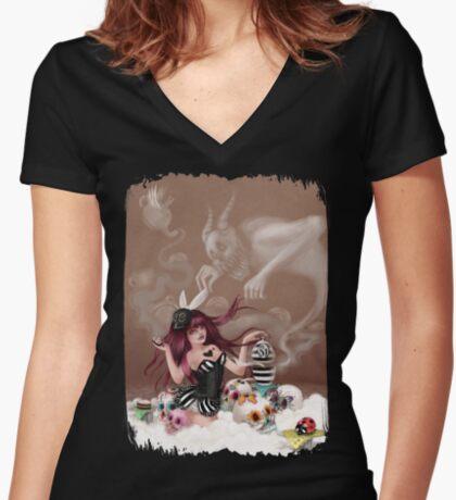 Girl 81 | Taking Tea in Calavera Land Women's Fitted V-Neck T-Shirt