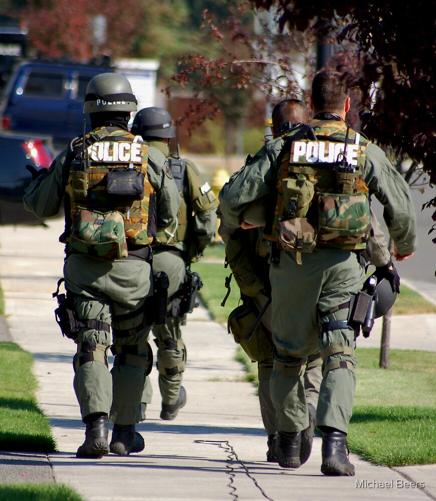 THE END OF A STAND OFF WITH SWAT AND I WAS THE ONLY PRESS ALLOWED IN  THE AREA   by Michael Beers