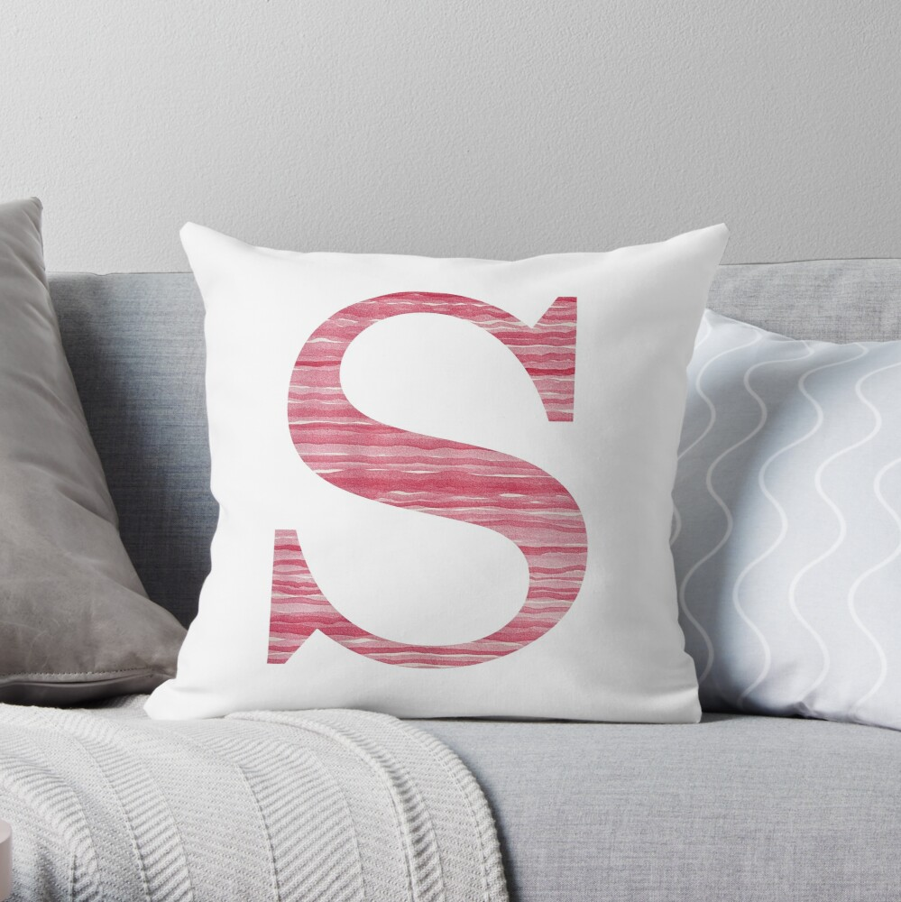 Letter S Red Watercolor Stripes Initial Monogram Throw Pillow