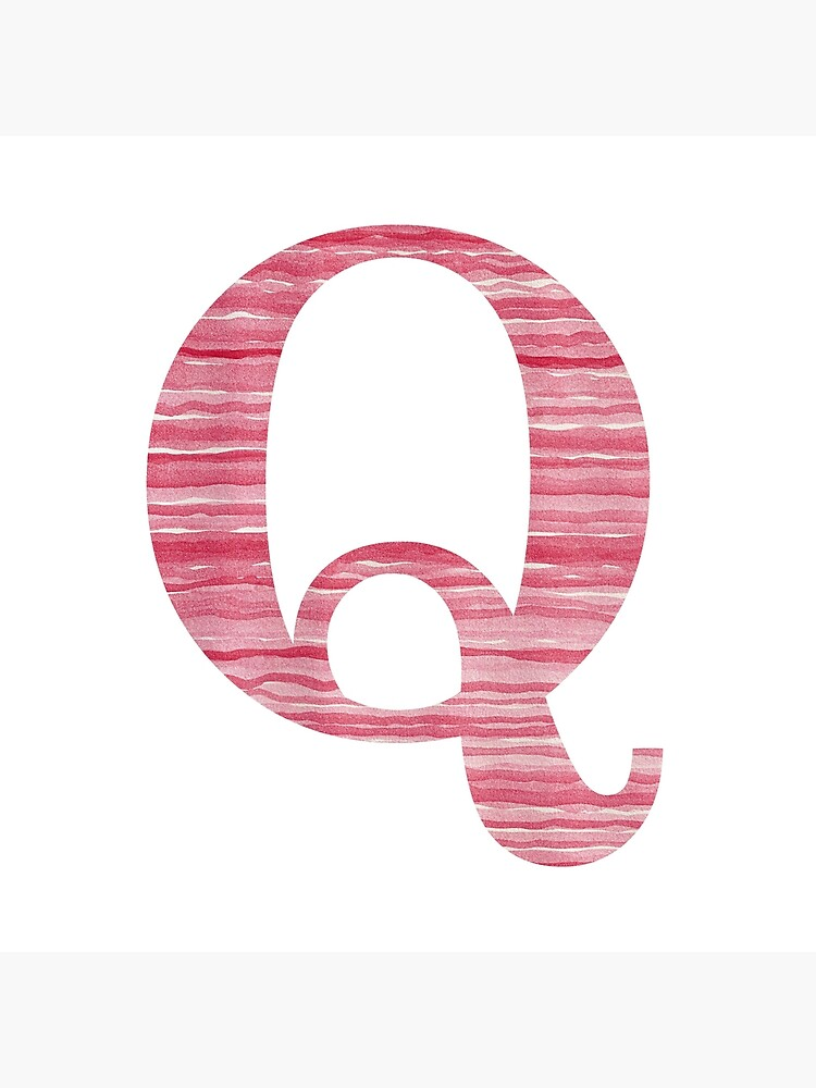 Letter Q Red Watercolor Stripes Initial Monogram by theartofvikki