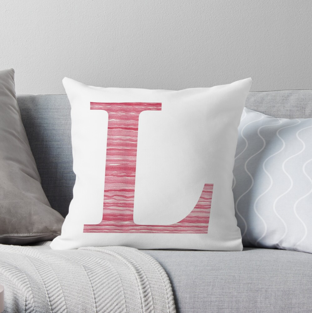Letter L Red Watercolor Stripes Initial Monogram Throw Pillow