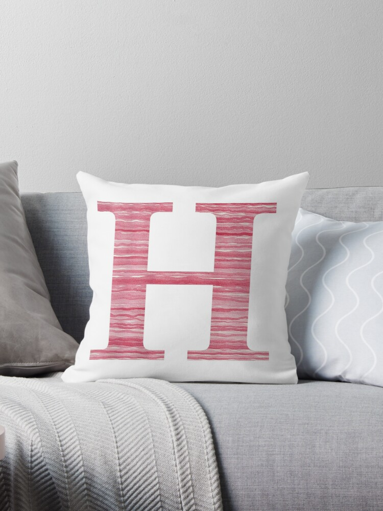 Letter H Red Watercolor Stripes Initial Monogram by theartofvikki