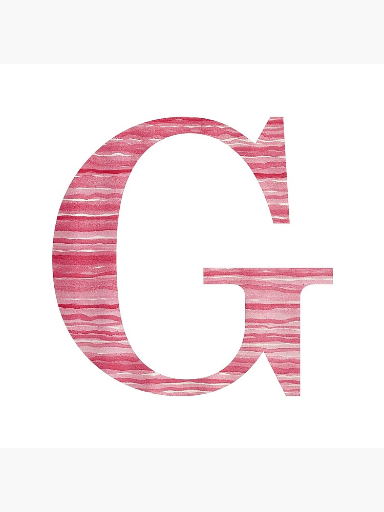 Letter G Red Watercolor Stripes Initial Monogram  by theartofvikki