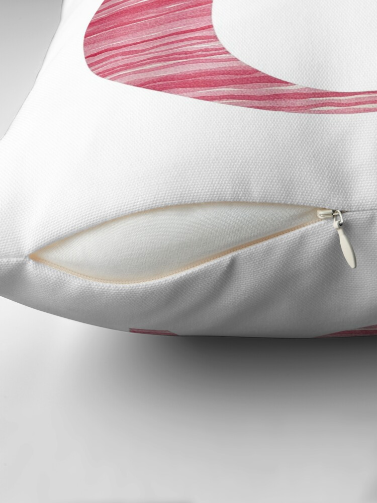 Alternate view of Letter G Red Watercolor Stripes Initial Monogram  Throw Pillow