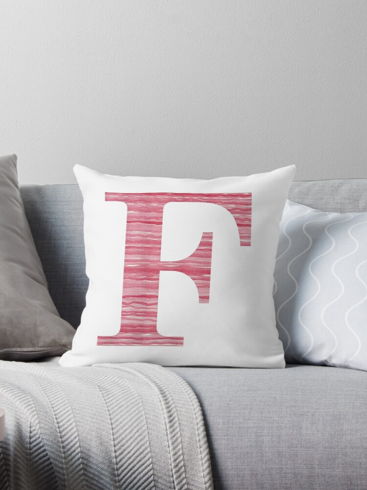 Letter F Red Watercolor Stripes Initial Monogram by theartofvikki
