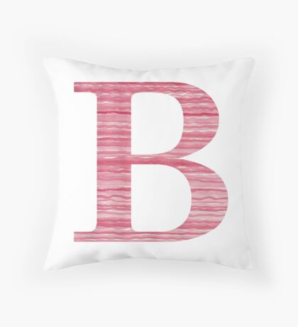 Letter B Red Watercolor Stripes Initial Monogram Throw Pillow